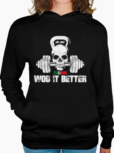 shop italians wod it better felpa donna con cappuccio logo classic